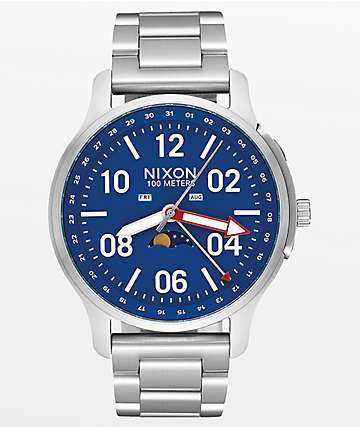 Nixon Ascender Silver & Blue Analog Watch