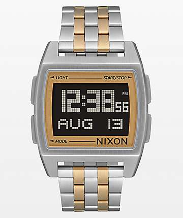 Nixon Base Silver & Light Gold Digital Watch
