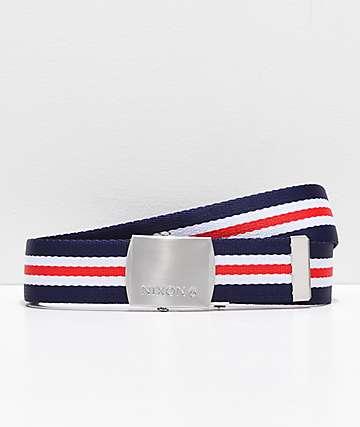 Nixon Basis cinturón azul, blanco y rojo