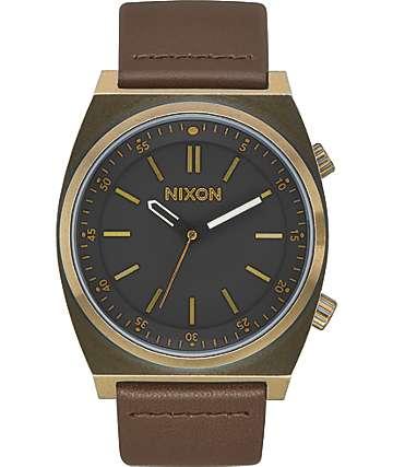 Nixon Brigade Leather Brass & Black Analog Watch
