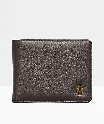 Nixon Cape Vegan Leather Brown Bifold Wallet