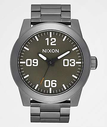 Nixon Corporal SS Gunmetal, Slate & Orange Analog Watch