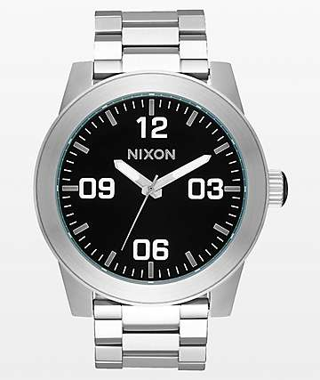 Nixon Corporal SS Silver & Black Analog Watch