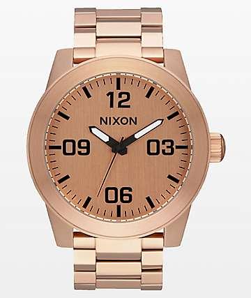 Nixon Corporal SS reloj analógico de oro rosa