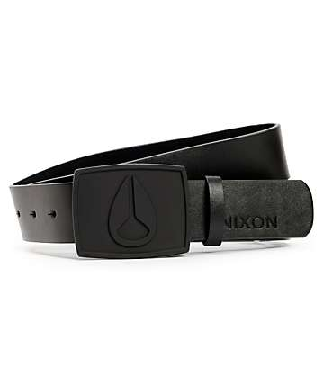 Nixon Enamal Icon All Black Leather Belt