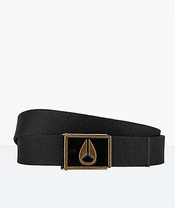 Nixon Enamel Wings Black & Brass Webbed Belt