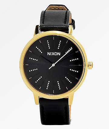 Nixon Kensington Disco Black & Gold Leather Watch