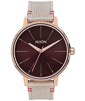 Nixon Kensington Leather reloj analógico en rosa y marrón