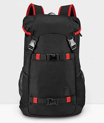 Nixon Landlock III mochila negra y roja