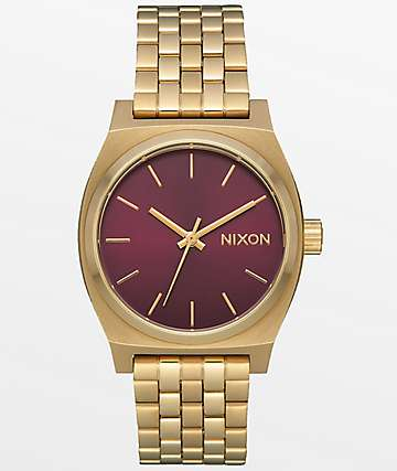 Nixon Medium Time Teller Light Gold & Bordeaux Sunray Watch