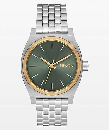 Nixon Medium Time Teller reloj analógico plateado, oro y agave