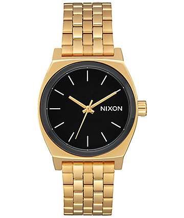 Nixon Medium Time Teller reloj en blanco, negro y color oro