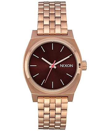 Nixon Medium Timeteller reloj analógico en marrón y oro rosa