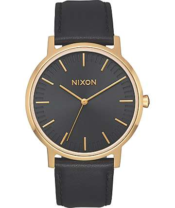 Nixon Porter 35 Leather Black & Gold Watch