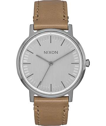 Nixon Porter 35 Leather Gunmetal & Taupe Watch