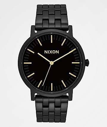 Nixon Porter All Black & Gold Analog Watch