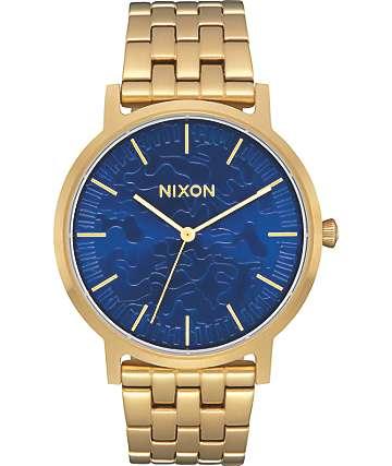 Nixon Porter Gold & Camo Sunray Analog Watch