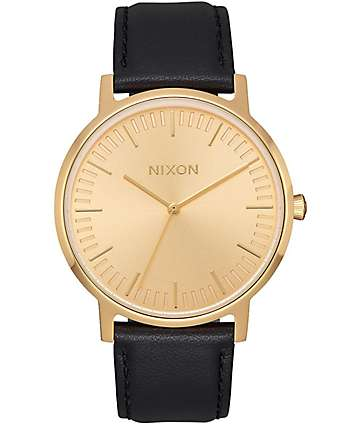 Nixon Porter Leather All Gold & Black Watch