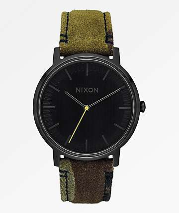 Nixon Porter Leather Black, Camo & Volt Yellow Analog Watch