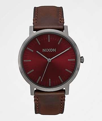 Nixon Porter Leather Gunmetal, Burgundy & Brown Analog Watch