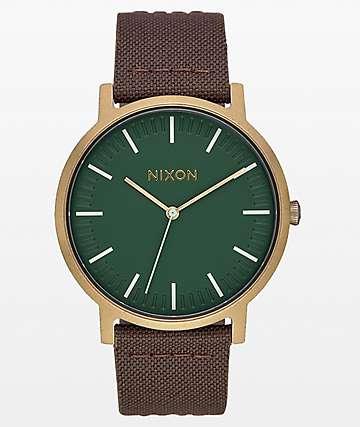 Nixon Porter Leather Palm reloj analógico en latón y marrón