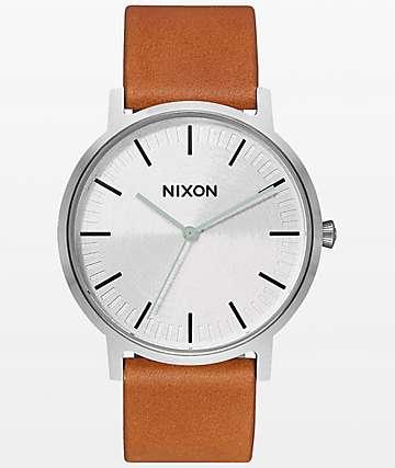 Nixon Porter Tan Leather & Silver Analog Watch