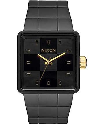 Nixon Quatro Matte Black & Gold Analog Watch