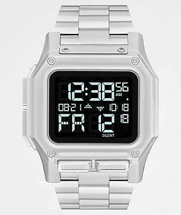 Nixon Regulus SS Silver & Black Digital Watch
