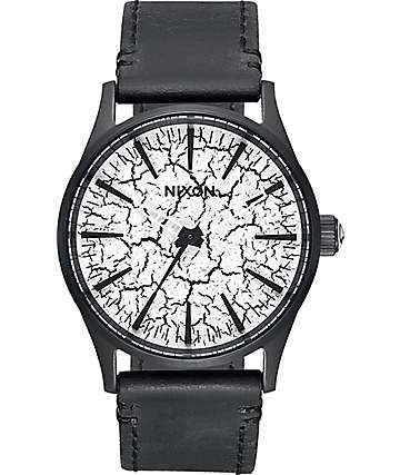 Nixon Sentry 38 Black Leather Crackle Watch
