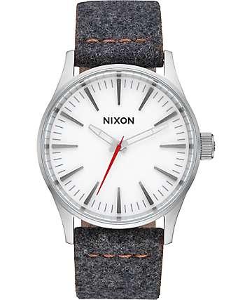Nixon Sentry 38 Leather Gray & Tan Analog Watch