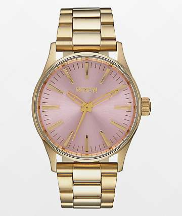 Nixon Sentry 38 SS Light Gold & Pink Watch