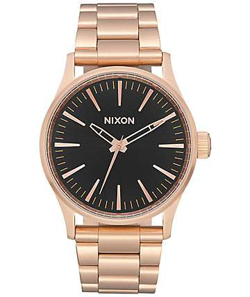 Nixon Sentry 38 SS Rose Gold & Black Watch