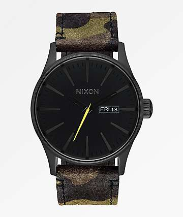 Nixon Sentry Leather Black, Camo & Volt Yellow Analog Watch