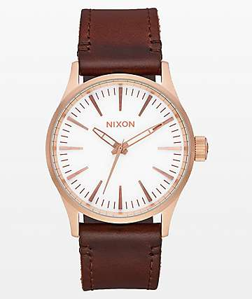 Nixon Sentry Leather Rose Gold, White & Brown Analog Watch