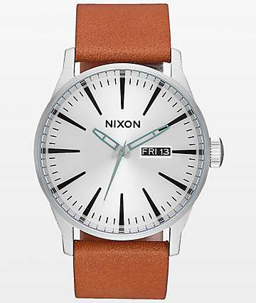 Nixon Sentry Leather Silver & Tan Analog Watch