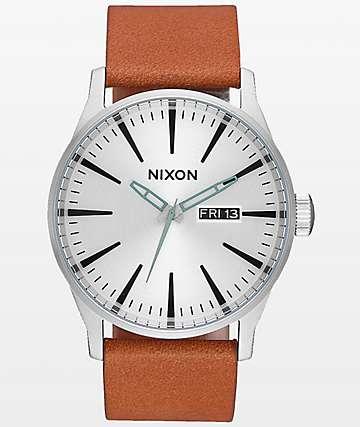 Nixon Sentry Leather Silver & Tan Analog Watch