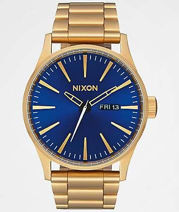 Nixon Sentry SS All Gold & Blue Sunray Analog Watch