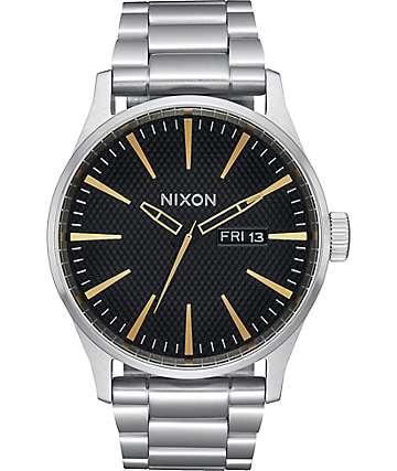 Nixon Sentry SS Black Stamped & Gold Analog Watch