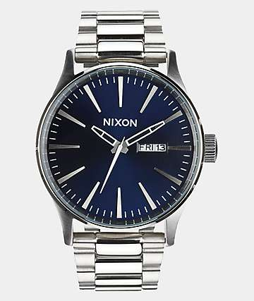 Nixon Sentry SS Blue Sunray Analog Watch