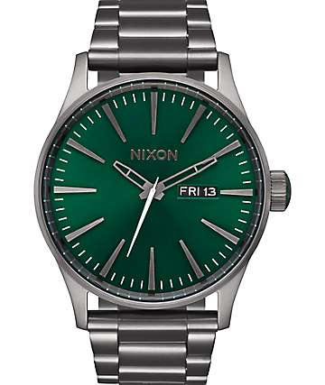 Nixon Sentry SS Gun Metal & Green Sunray Analog Watch
