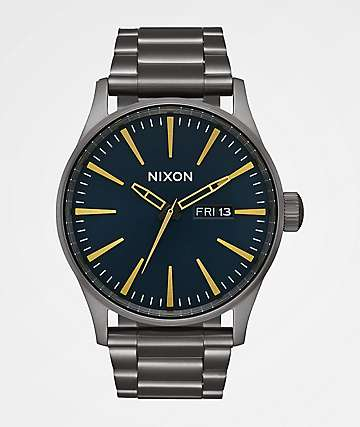 Nixon Sentry SS Gunmetal & Indigo Analog Watch
