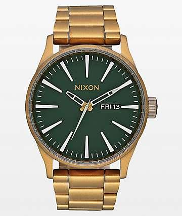 Nixon Sentry SS Palm Green & Brass Analog Watch