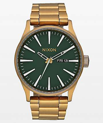 Nixon Sentry SS Palm Green & Brass Analog Watch