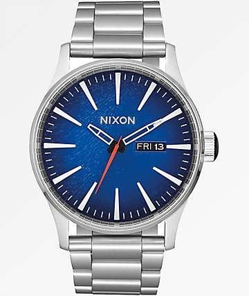 Nixon Sentry SS Reflex Blue Sunray Analog Watch