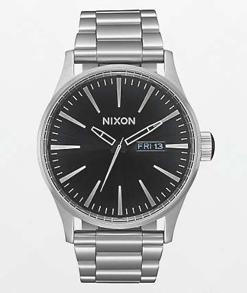 Nixon Sentry SS Silver & Black Sunray Analog Watch