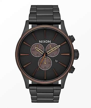 Nixon Sentry reloj cronógrafo en negro, marrón y latón