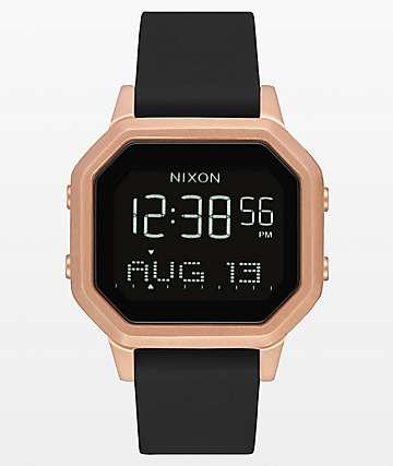 Nixon Siren SS  reloj digital de oro rosa y goma negra