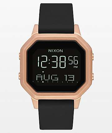 Nixon Siren SS Rose Gold & Black Rubber Digital Watch