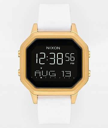 Nixon Siren SS reloj digital de oro y goma blanca