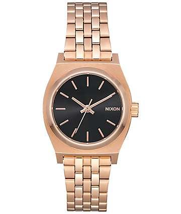 Nixon Small Time Teller reloj en negro y oro rosa
